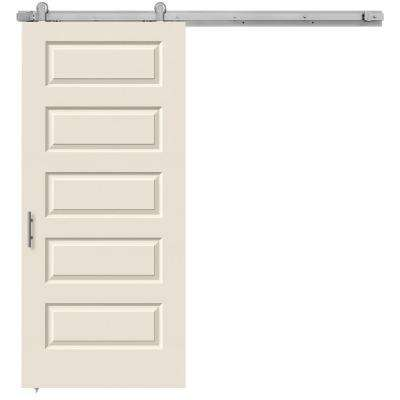 36 in. x 84 in. Rockport Primed Smooth Molded Composite MDF Barn Door with Modern Hardware Kit