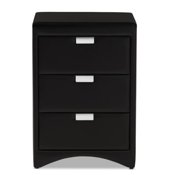 Baxton Studio Talia 3-Drawer Black Nightstand