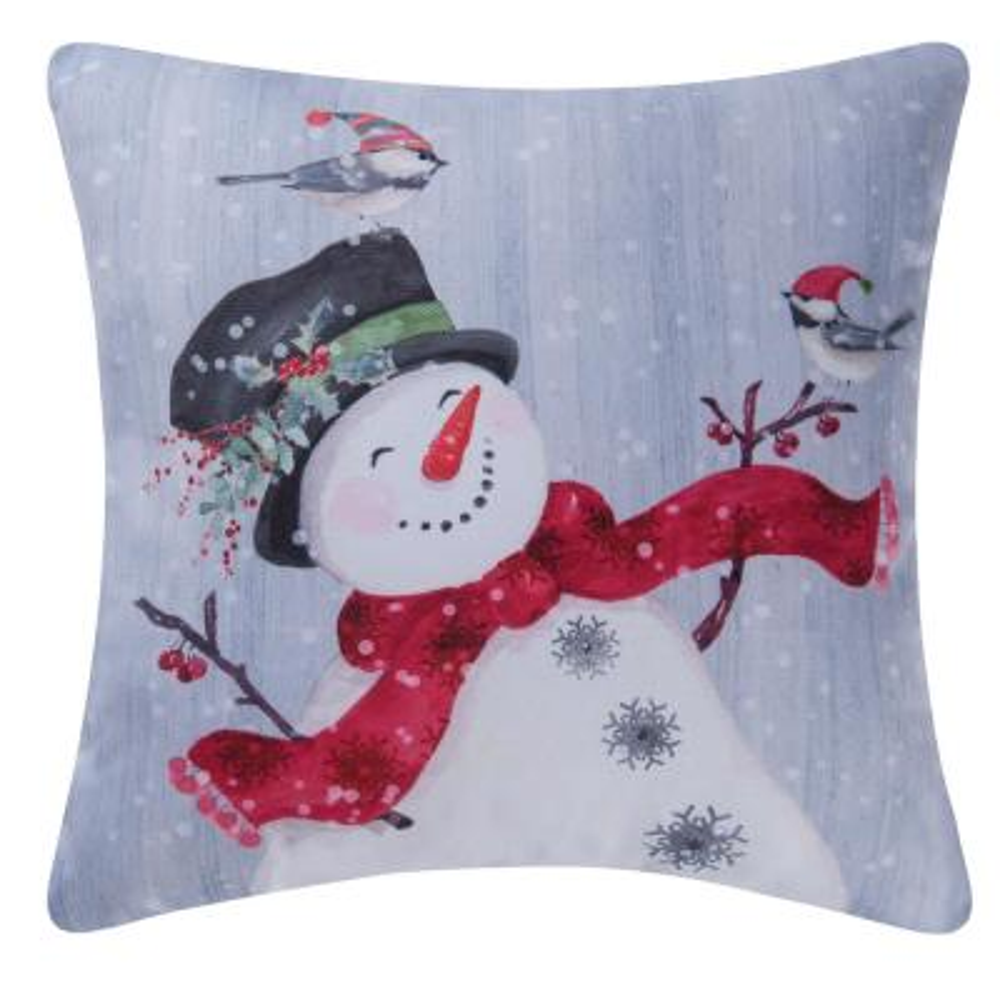 Snowman Indoor/Outdoor White Standard Pillow