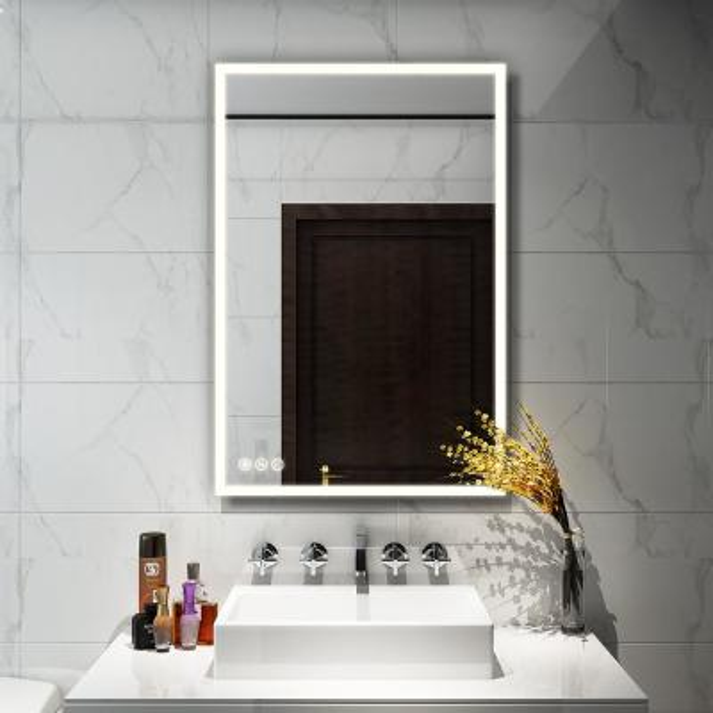 24 in. W x 36 in. H Frameless Rectangular LED Light Bathroom Vanity Mirror