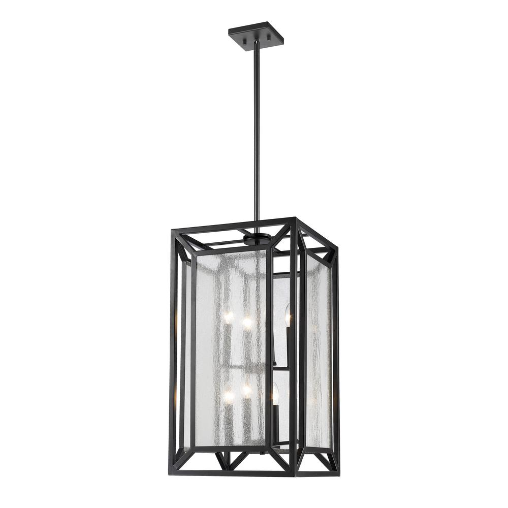 Filament Design Leela 8-Light Bronze Pendant with Clear Seedy Glass Shade