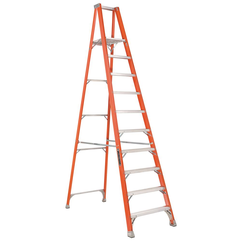 Louisville Ladder 10 ft. Fiberglass Platform Step Ladder with 300 lbs. Load Capacity Type IA Duty Rating
