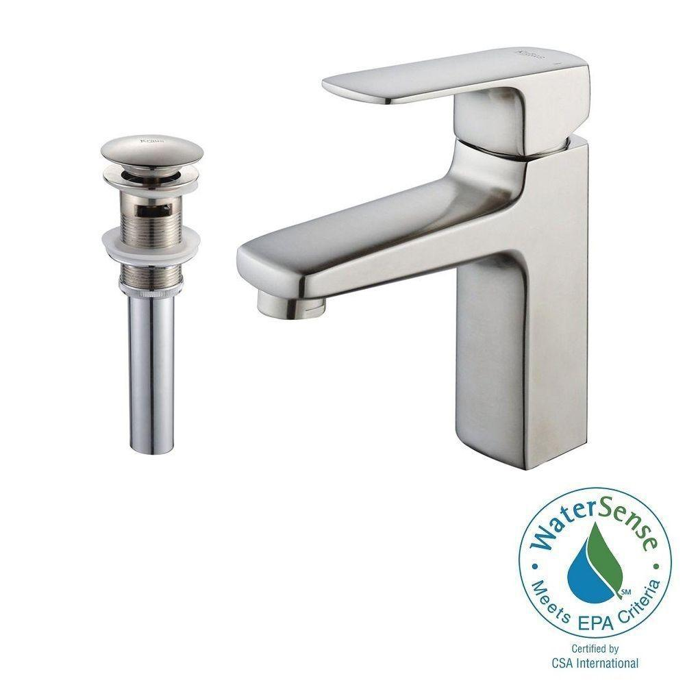 KRAUS Virtus Single Hole Single Handle High Arc Vessel Bathroom Faucet With  Pop
