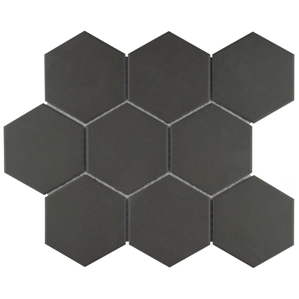 Gotham Super Hex Black 10 in. x 11-1/2 in. x 6 mm Unglazed Porcelain Mosaic Tile (8.17 sq. ft. / case)