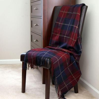 Blue/Red Plaid Cashmere-Like Polyester Throw Blanket