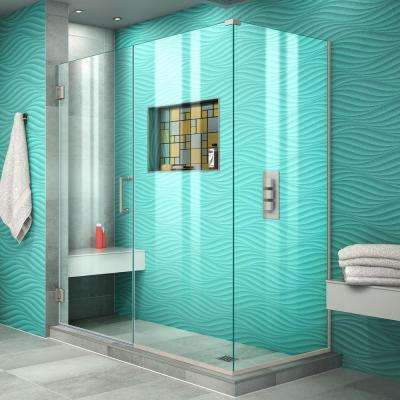 Unidoor Plus 58.5 in. W x 34-3/8 in. D x 72 in. H Frameless Hinged Shower Enclosure in Brushed Nickel