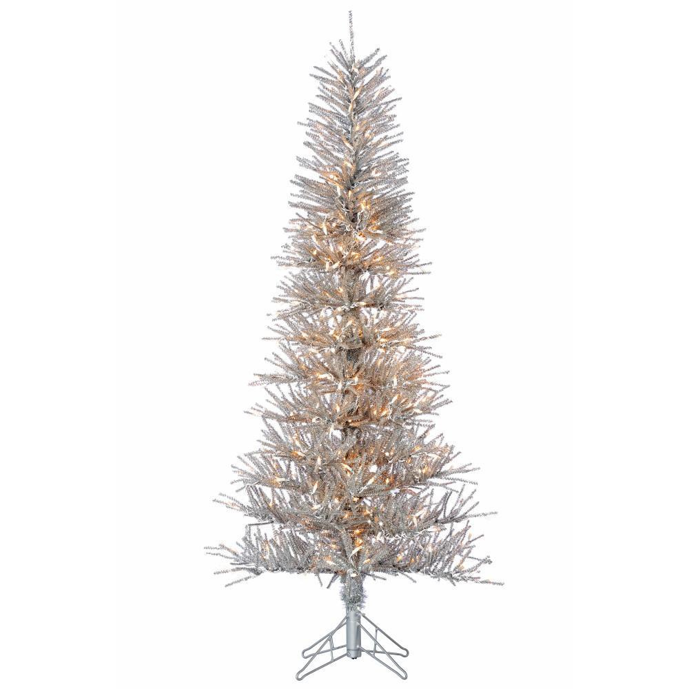 6 ft. Pre-Lit Silver Tinsel Twig Christmas Tree