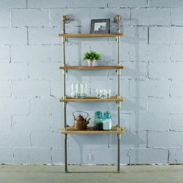 Sacramento Farmhouse Natural 67 In Wall 4 Shelf Etagere Pipe Bookcase Display Metal Reclaimed Wood