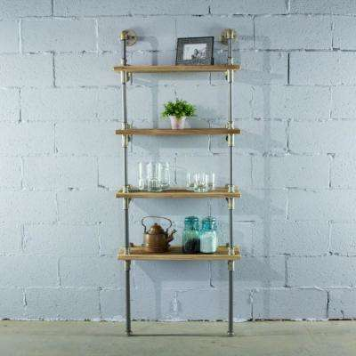 Sacramento Industrial Farmhouse, Natural 67 in. Wall 4-Shelf Etagere Pipe Bookcase Display-Metal-Reclaimed Wood