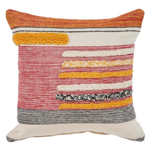 Eclectic Lined Multicolored Striped Hypoallergenic Polyester 18 in. x 18 in. Throw Pillow