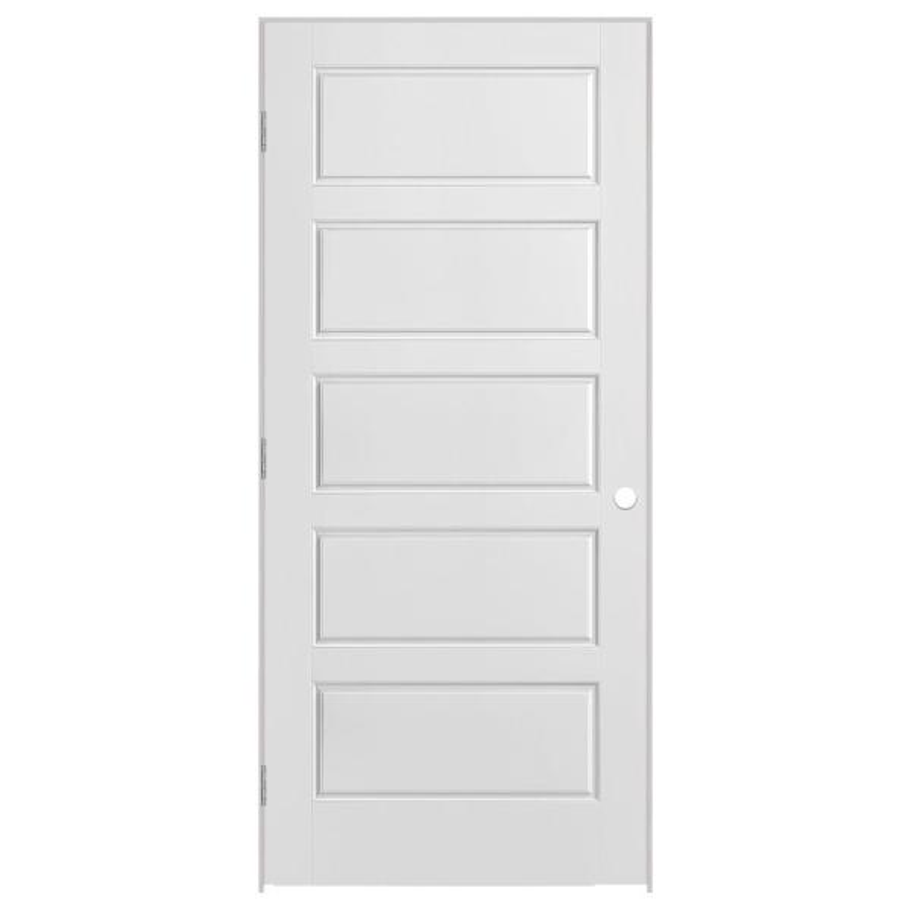 30 in. x 80 in. Solidoor Riverside 5-Panel Solid-Core Smooth Primed Composite Single Prehung Interior Door