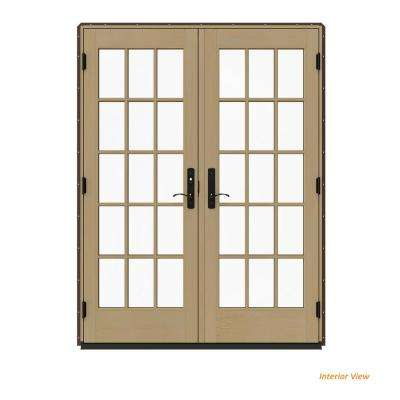 60 in. x 80 in. W-4500 Contemporary Brown Clad Wood Left-Hand 15 Lite French Patio Door w/Unfinished Interior