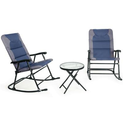 Folding 3-Piece Steel Outdoor Bistro Rocking Chair Set with Blue and Grey Cushions