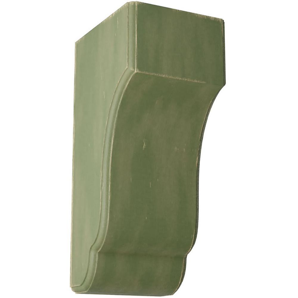 5-3/4 in. x 14 in. x 7 in. Restoration Green Capistrano Mission Wood Vintage Decor Corbel