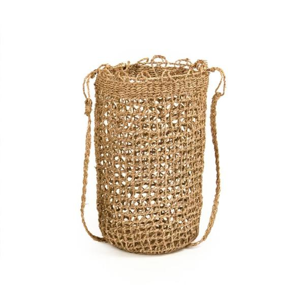 Hand Woven Seagrass Medium with Strap Tote Basket