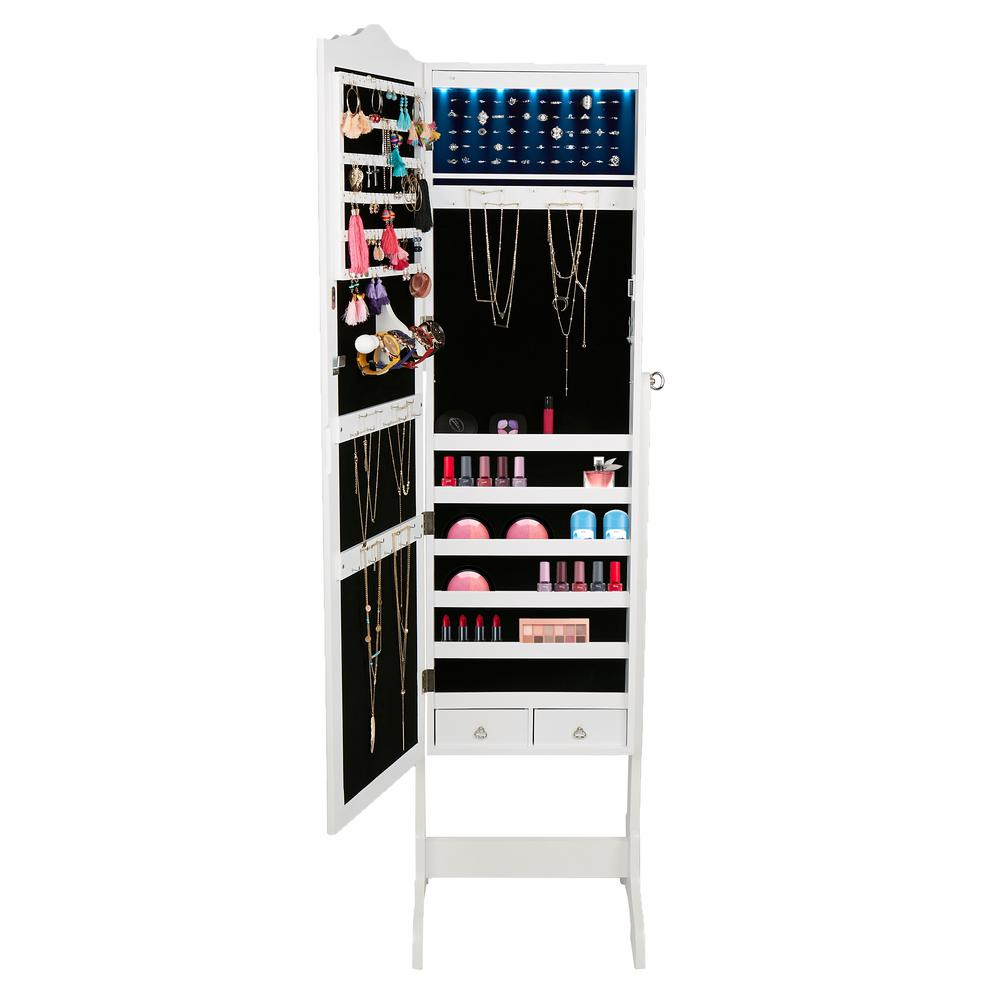Mind Reader White Free Standing Jewelry Armoire Storage Cabinet 14 Led Lights For Necklaces Rings Earrings Sledmir14 Wht The Home Depot