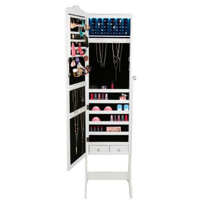 White Free-Standing Jewelry Armoire Storage Cabinet, 14-LED Lights, for Necklaces, Rings, Earrings