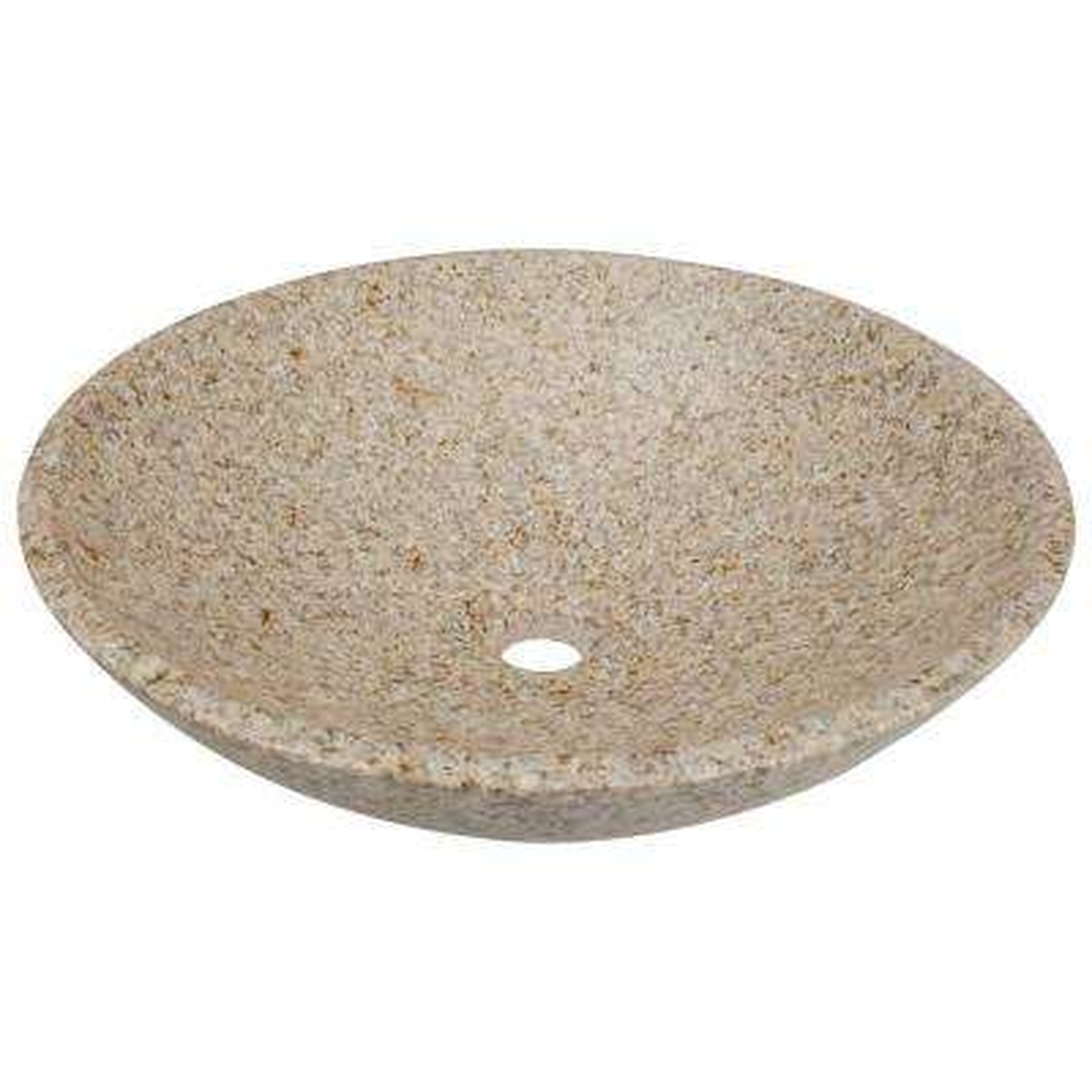 Stone Vessel Sink in Honed Basalt Tan Granite