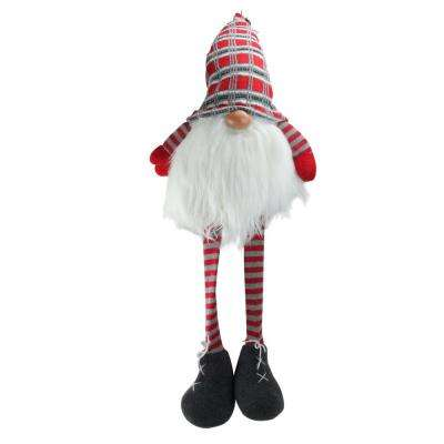 36 in. Red and Gray Traditional Christmas Santa Gnome with Dangling Legs