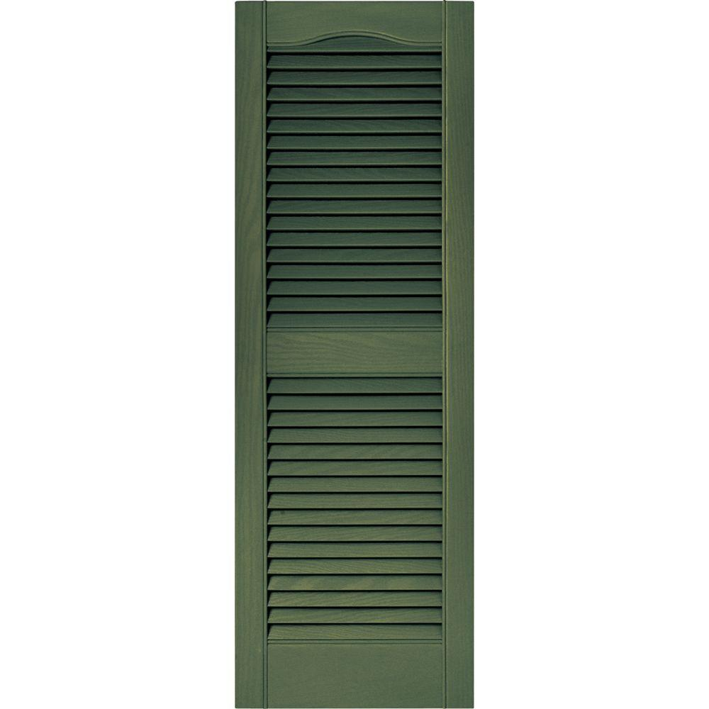 Builders Edge 15 in. x 43 in. Louvered Vinyl Exterior Shutters Pair in #283 Moss