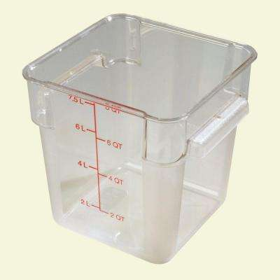 8 qt. Polycarbonate Square Food Storage Container in Clear, Lid not Included, (Case of 6)