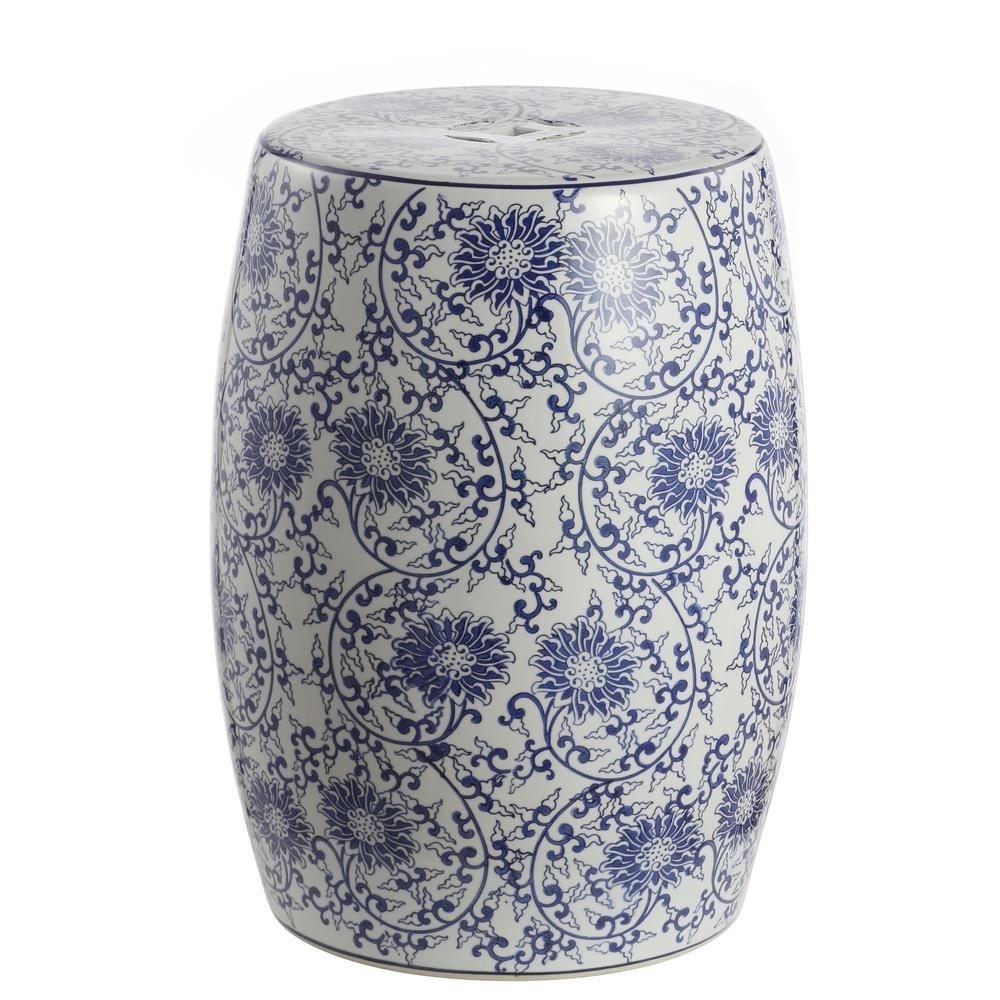 Lotus Blossom 17.5 in. Blue/White Chinoiserie Ceramic Drum Garden Stool