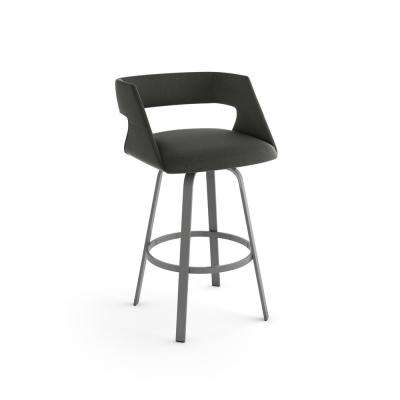 Harris 26 in. Charcoal Grey Polyester / Glossy Grey Metal Swivel Counter Stool