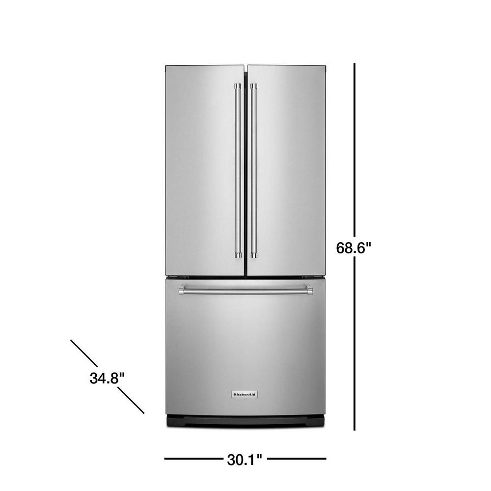 Kitchenaid 20 Cu Ft French Door Refrigerator In Stainless Steel With Interior Water Dispenser