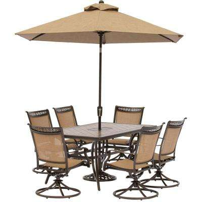 Fontana 7-Piece Aluminum Rectangular Outdoor Dining Set with Swivels, Cast-Top Table, Umbrella and Base