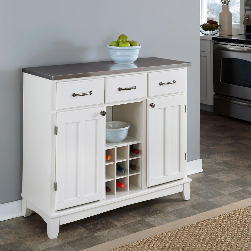 Home Styles White And Stainless Steel Buffet With Wine Storage
