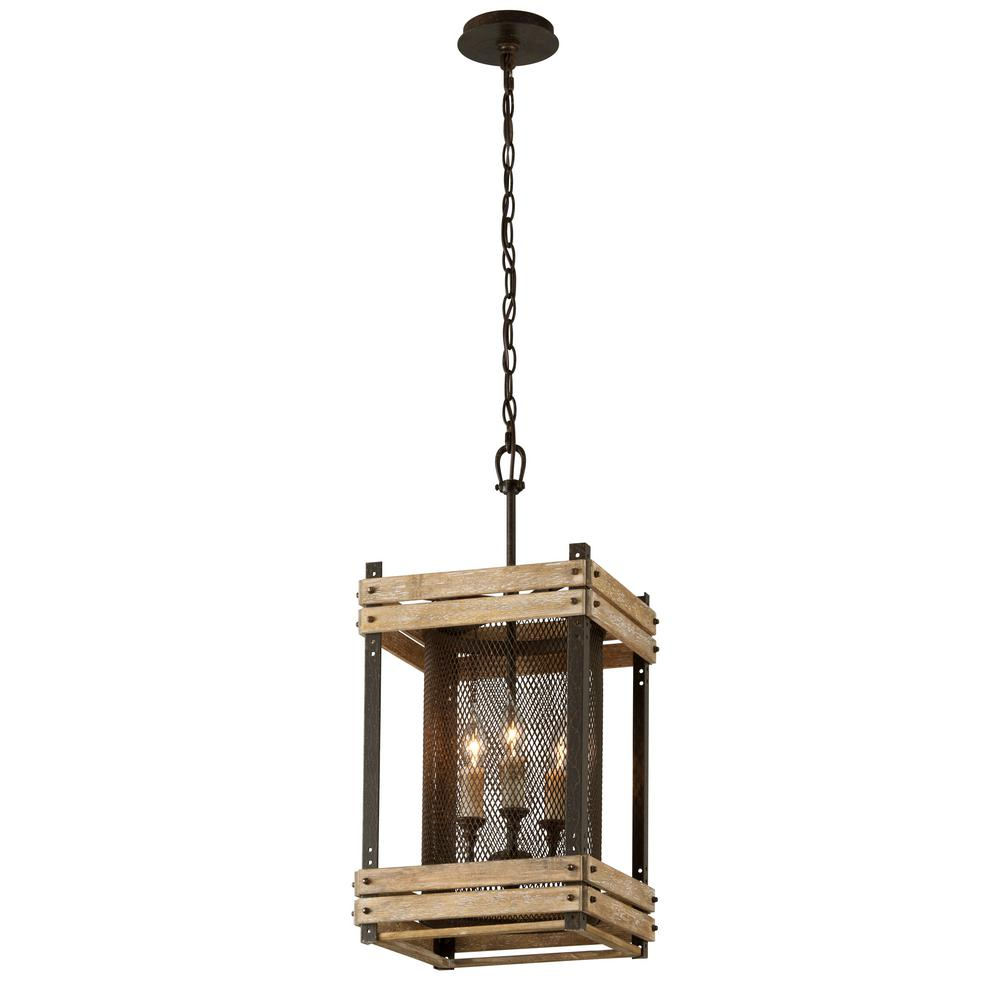 Troy Lighting Merchant Street 3-Light Rusty Iron with Salvaged Wood Slats Pendant  sc 1 st  Home Depot & Troy Lighting Merchant Street 3-Light Rusty Iron with Salvaged ... azcodes.com