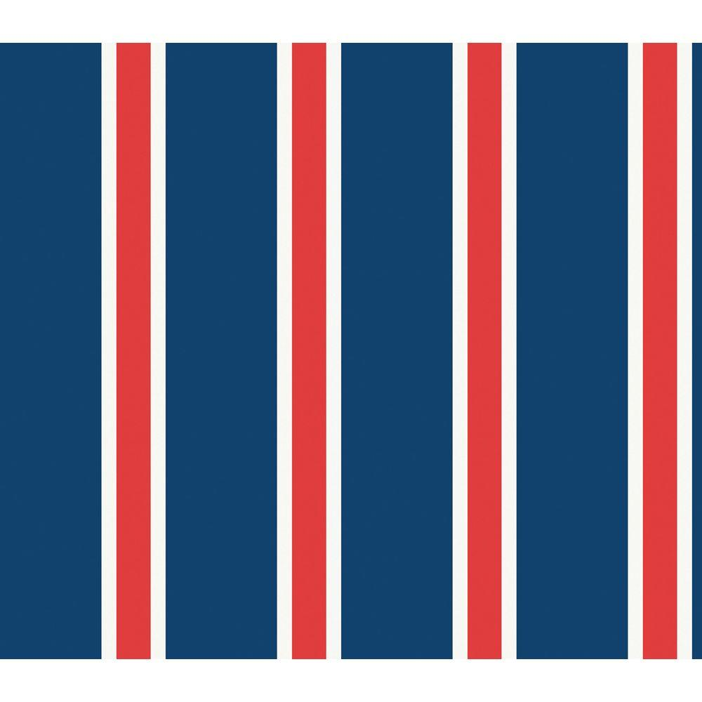 The Wallpaper Company 8 in. x 10 in. Red, White and Blue Sporty Stripe Wallpaper Sample