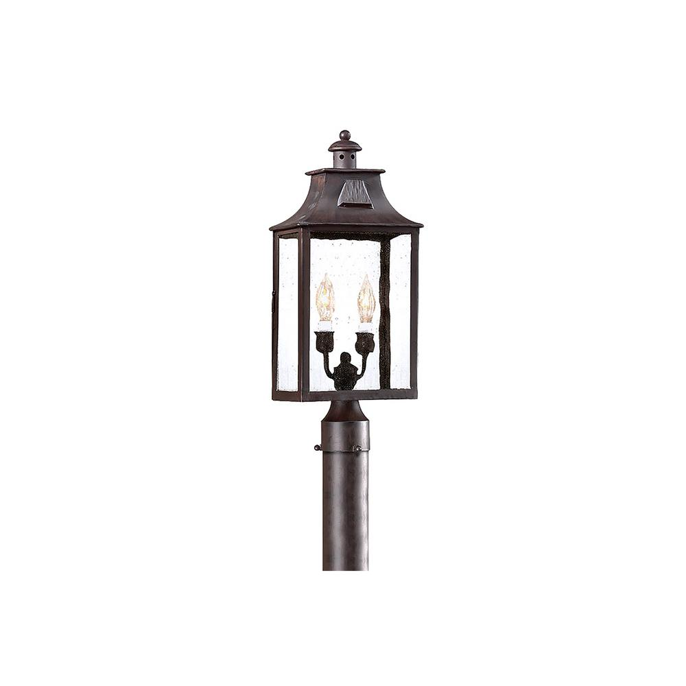 Outdoor Post Lights At Home Depot: Troy Lighting Newton 2-Light Outdoor Old Bronze Post Light