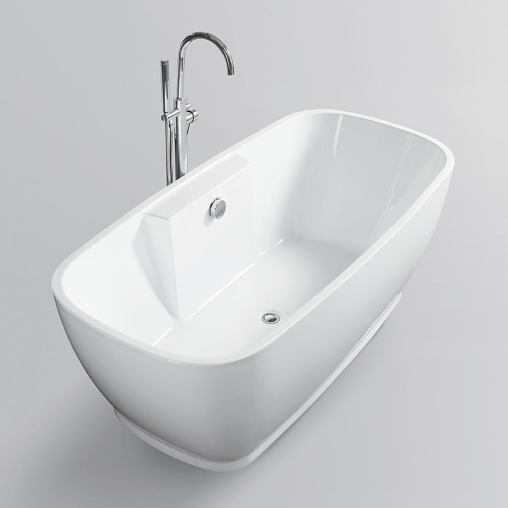 Vanity Art Toulon 59 In Acrylic Flatbottom Freestanding Bathtub In