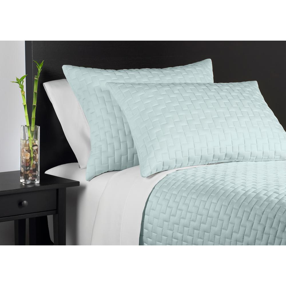 100% Rayon from Bamboo Sky (Blue) Queen Coverlet Set