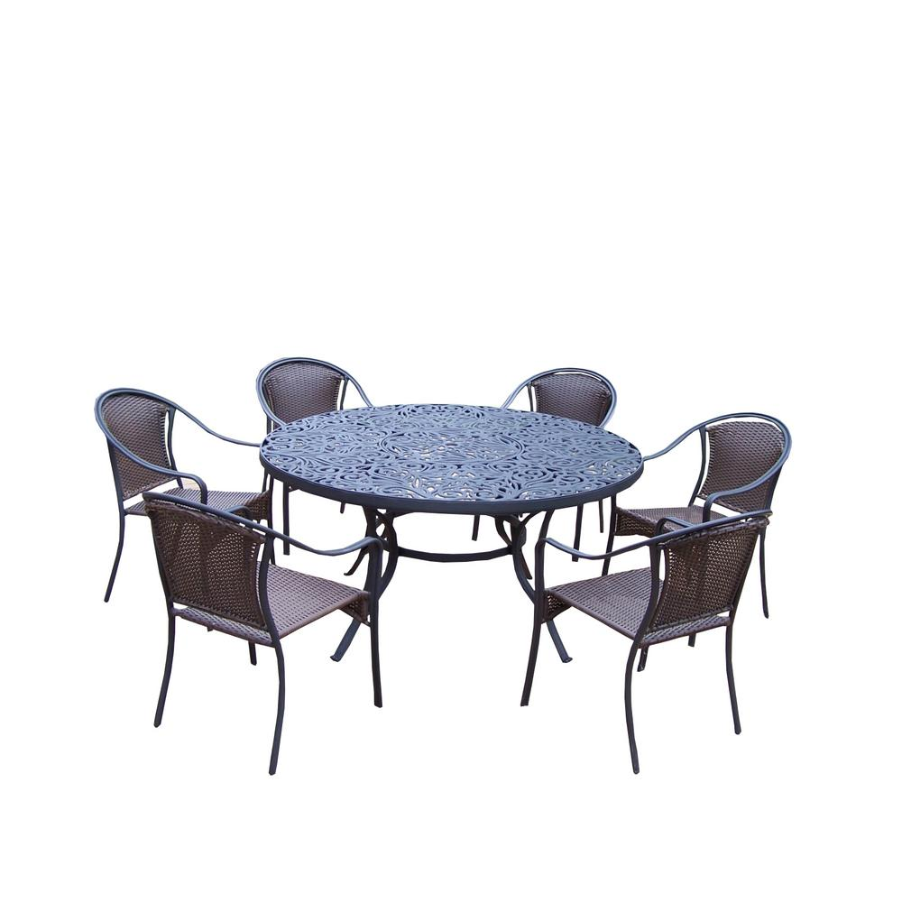 Tuscany 7-Piece Wicker Outdoor Dining Set-HD2205T-90079C6-7-BK - The ...