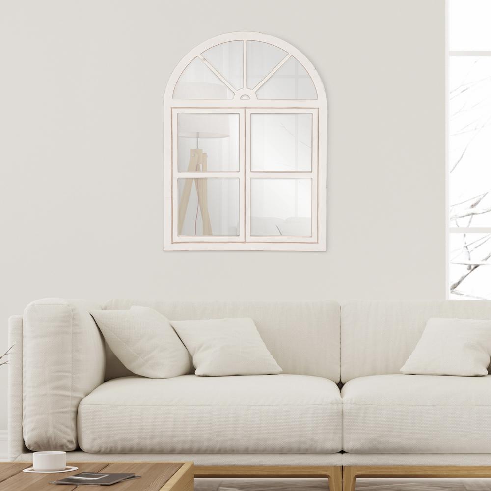 Patton Farmhouse Arch Windowpane Rustic White Decorative Mirror