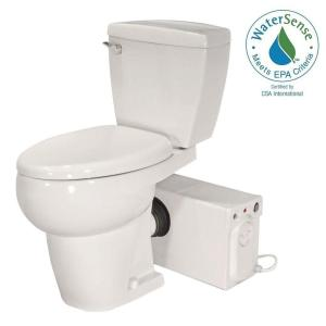 Bathroom Anywhere 2-piece 1.28 GPF Single Flush Elongated Toilet with Seat  Macerating Pump in