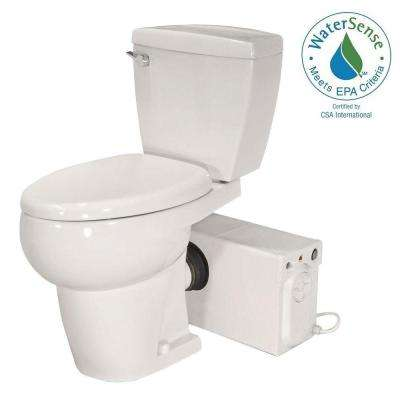 Bathroom Anywhere 2-piece 1.28 GPF Elongated Toilet with Seat and 0.80 HP Macerating Pump in White