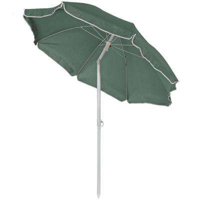 5 ft. Steel Outdoor Beach Tilt Umbrella with in Sage Green