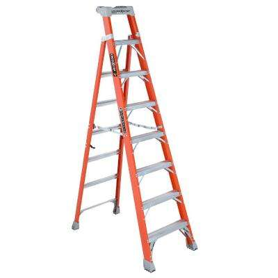 8 ft. Fiberglass Cross Step Ladder with 300 lbs. Load Capacity Type IA Duty Rating