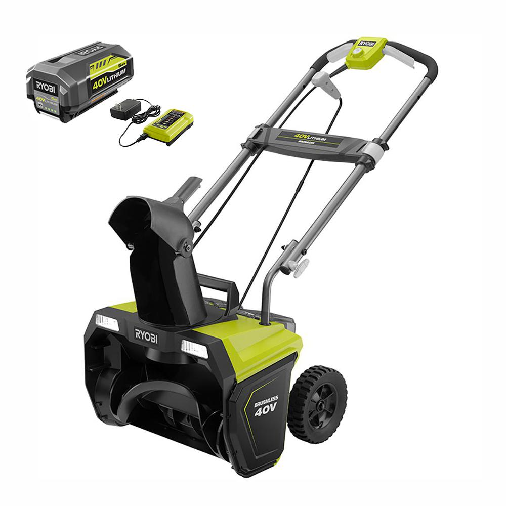 RYOBI RYOBI 20 in. 40-Volt Single-Stage Brushless Cordless Electric Snow Blower with 5.0 Ah Battery and Charger Included