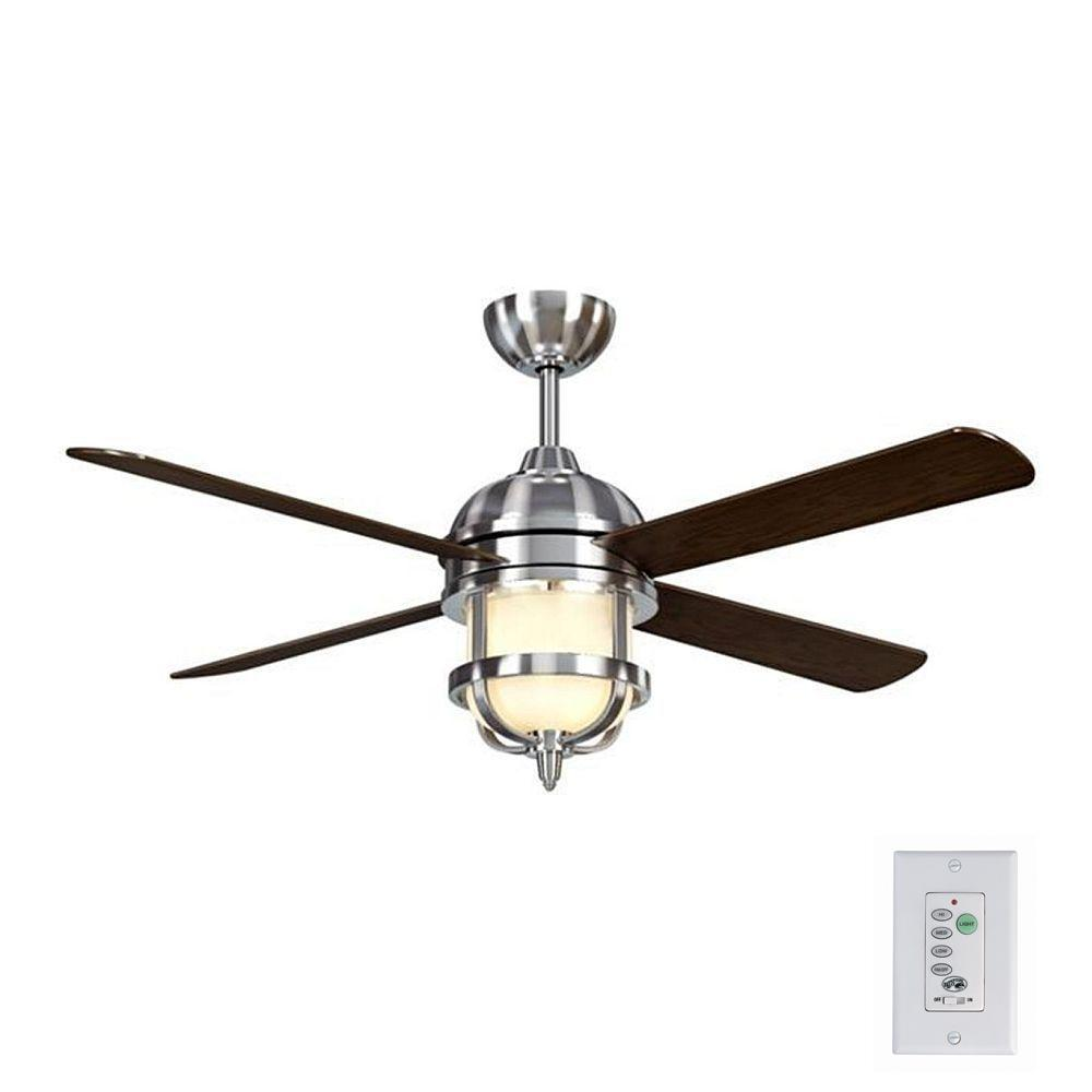 Senze 52 in. Indoor Brushed Nickel Ceiling Fan with Light Kit