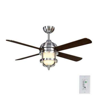 Senze 52 in. Indoor Brushed Nickel Ceiling Fan with Light Kit and Remote Control