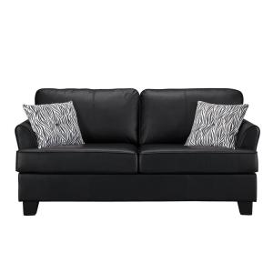 Signature Home Gracie Black Faux Leather Hide-A-Bed Sofa ...