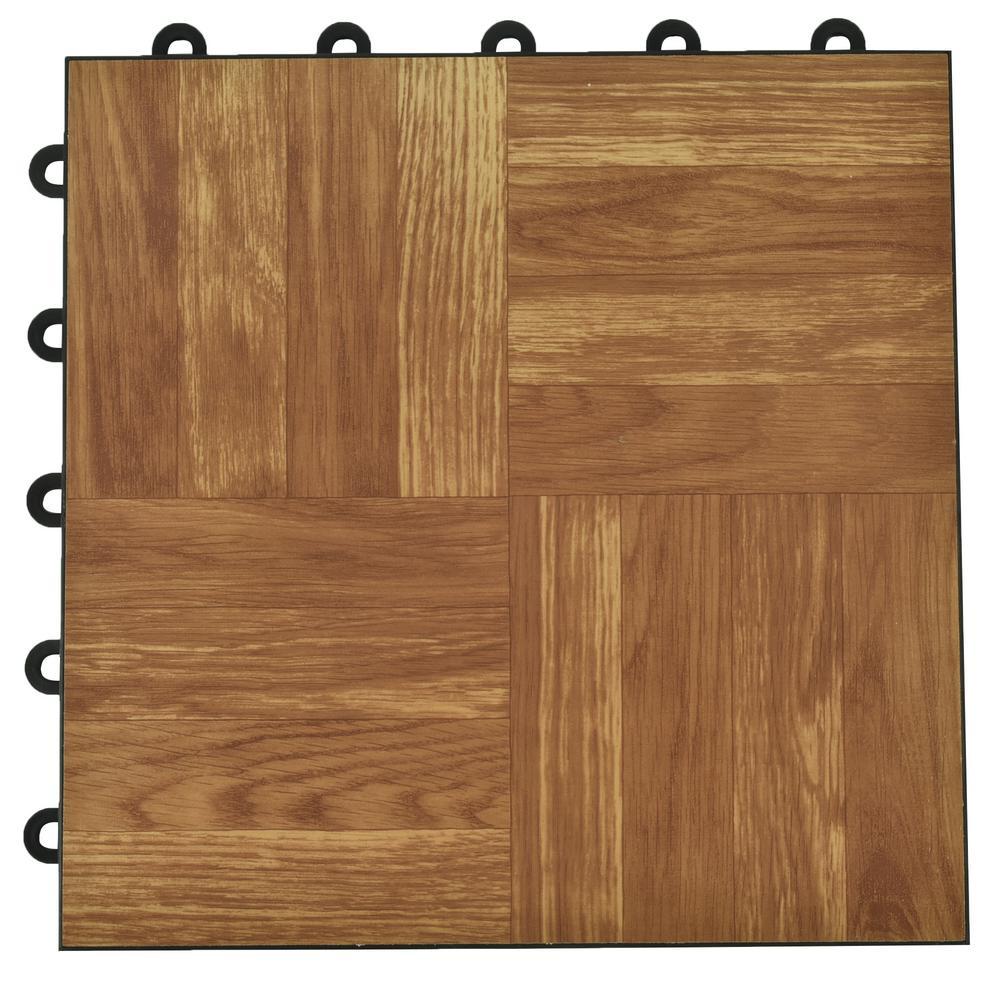 Dark Oak Interlocking Bat Plastic And Vinyl Floor Tile 24 Pack 5 Sq Ft