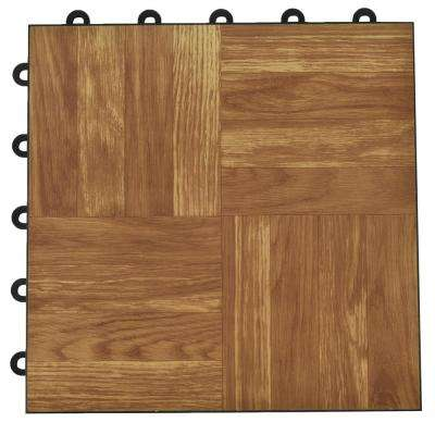 Click Tile 12-1/8 in. x 12-1/8 in. Dark Oak Interlocking Basement Plastic and Vinyl Floor Tile (24-Pack) (24.5 sq. ft.)