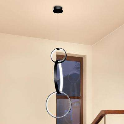 Capella 34 in. x 16 in. Black Integrated LED Adjustable Hanging Pendant with Multi-Ring Modern