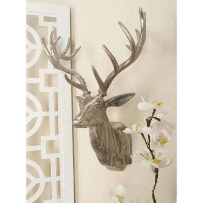 23 in. x 17 in. Aluminium Deer Head Wall Decor in Polished finish