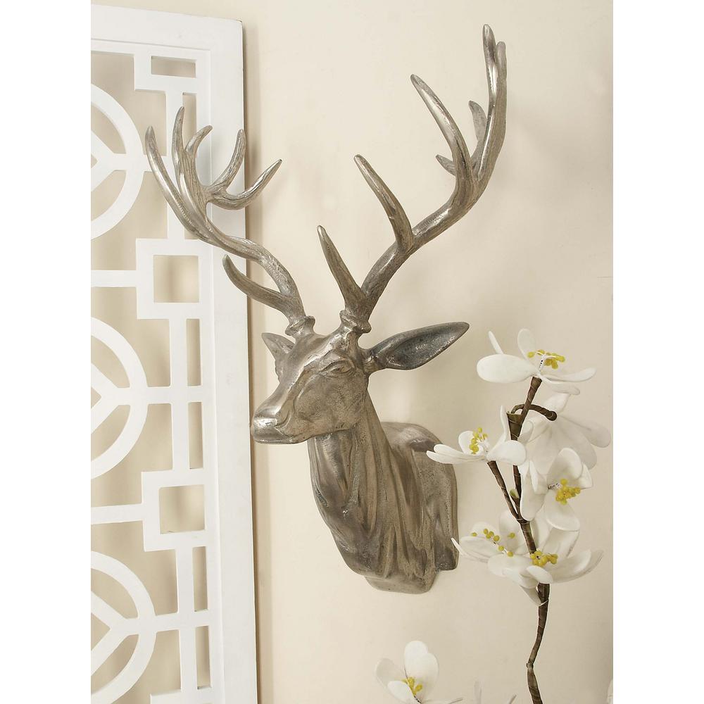 23 inch x 17 inch Aluminium Deer Head Wall Decor in Polished finish by